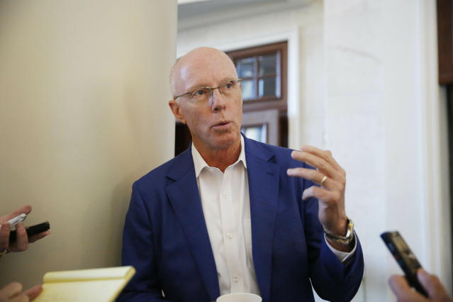Atlanta Falcons President and CEO, Rich McKay, speaks to the media during the NFL owners meeting, Tuesday, May 21, 2019, in Key Biscayne, Fla. (AP Photo/Brynn Anderson)