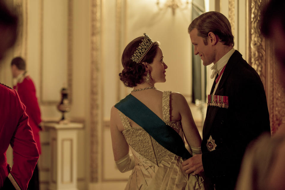 The Crown – Elizabeth, Phillip – Elizabeth and Philip enjoy a private moment at the Ambassadors Ball