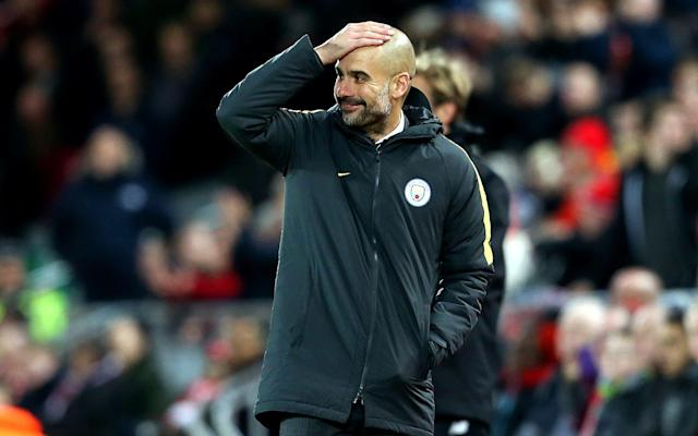 <span>There have been plenty of 'head in hands' moments for Pep this season</span> <span>Credit: Rex Features </span>