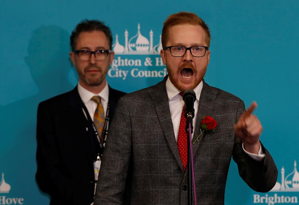 Labour Party candidate Lloyd Russell-Moyle speaks after he is announced as the winner for the constituency of Brighton Kemptown at a counting centre for Britain's general election in Brighton, Britain December 13, 2019.  REUTERS/Paul Childs