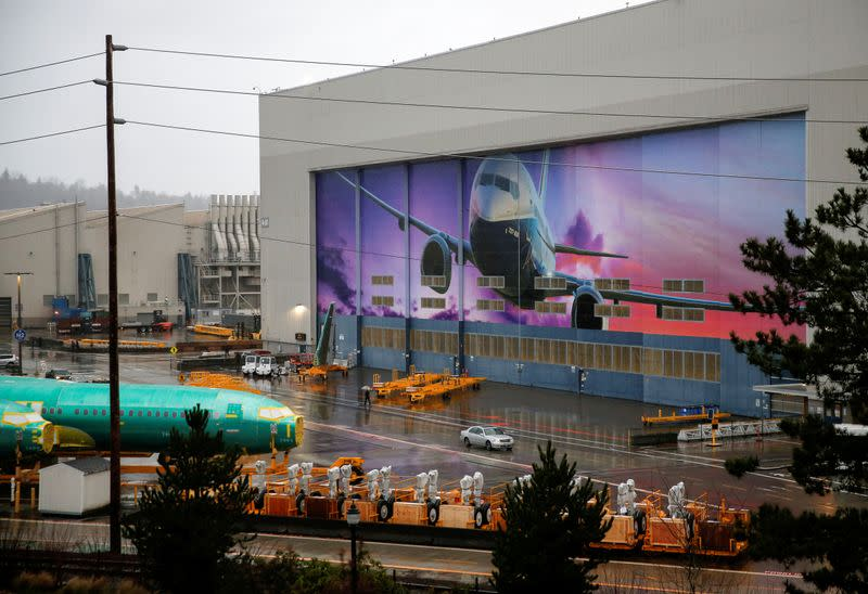 Boeing 737 Max fuselages are seen parked outside the company's production facility in Renton