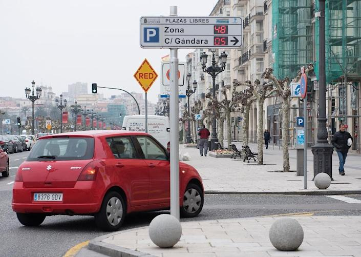 A digital panel informs motorists of available parking spaces in Santander (AFP Photo/Ander Gillenea)