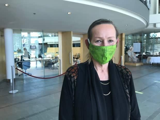 N.W.T. Premier Caroline Cochrane pictured in May 2020 wearing a mask during the COVID-19 pandemic. (Sara Minogue/CBC - image credit)