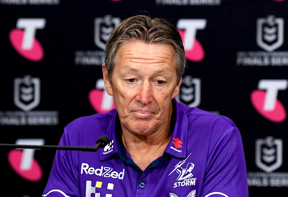Seen here, Melbourne Storm coach Craig Bellamy addresses media after a game in 2021.