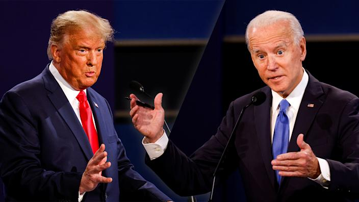President Donald Trump and Joe Biden during the final Presidential Debate in Nashville. TN on  October 22, 20202. (Mike Segar/Reuters (2).