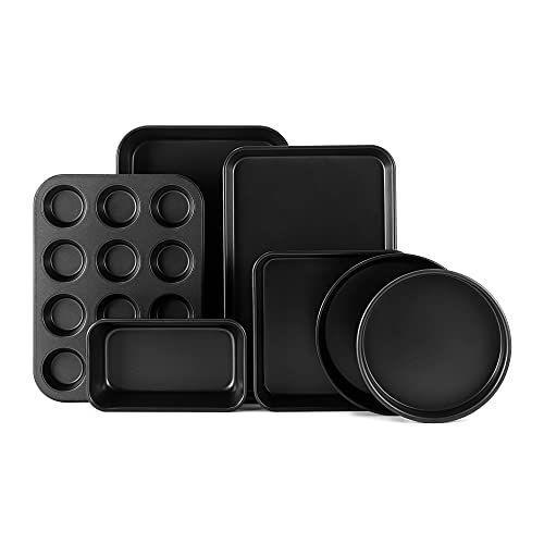 """<p><strong>S·KITCHN</strong></p><p>amazon.com</p><p><strong>$44.72</strong></p><p><a href=""""https://www.amazon.com/dp/B091Y6CWJM?tag=syn-yahoo-20&ascsubtag=%5Bartid%7C2089.g.37668918%5Bsrc%7Cyahoo-us"""" rel=""""nofollow noopener"""" target=""""_blank"""" data-ylk=""""slk:Shop Now"""" class=""""link rapid-noclick-resp"""">Shop Now</a></p><p>This durable bakeware set is nonstick, which means the food releases easily and the pans clean up quickly. It's an ideal """"starter"""" or replacement set for avid bakers, and it makes a wonderful gift for people moving into their first place. </p><p>All of the handles are extra wide, which means they're super easy to move around and get in and out of the oven. This set also comes with a 1-year manufacturer's warranty, and is oven-safe up to 450 degrees.<br></p>"""