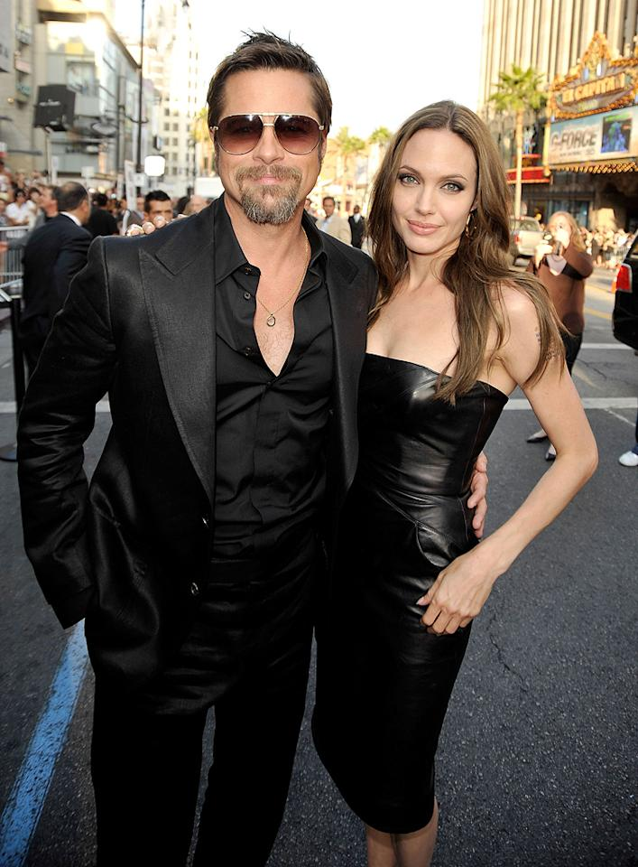 "<a href=""http://movies.yahoo.com/movie/contributor/1800019275"">Angelina Jolie</a> and <a href=""http://movies.yahoo.com/movie/contributor/1800018965"">Brad Pitt</a> at the Los Angeles premiere of <a href=""http://movies.yahoo.com/movie/1808404206/info"">Inglourious Basterds</a> - 08/10/2009"