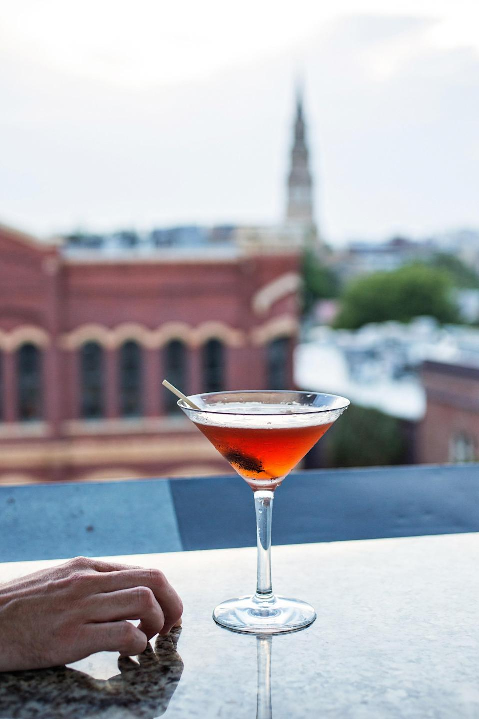 """<p><strong>What'd you think of the place?</strong><br> No ordinary rooftop bar, this. The <a href=""""https://www.cntraveler.com/hotels/charleston/the-vendue?mbid=synd_yahoo_rss"""" rel=""""nofollow noopener"""" target=""""_blank"""" data-ylk=""""slk:Vendue Hotel"""" class=""""link rapid-noclick-resp"""">Vendue Hotel</a> lures in its cocktail-drinking prey with a two-tiered rooftop experience, both levels encompassing different covered and uncovered levels, with the entire environs enlivened by playful Pop-Art installations that will keep the Instagram generation snap-happy. Wooden decking and sun-shaded wicker furniture mixes with chic lighting and gleaming bar tops for a high-end rooftop adventure. The harbor views don't hurt.</p> <p><strong>Who else is there?</strong><br> It's a bar of two levels and a tale of two bars. During the week or pre-sunset on weekends, expect a more grown-up crowd of sophisticates chatting to the bar staff about barrel-aged bourbons and sipping eclectic drinks before heading out to dinner. Once the sun dips past the horizon, Fridays and Saturdays especially become more lively, with young professionals blowing off steam. But they don't blow too hard, and the cross breezes keep things chill.</p> <p><strong>And the drinks? Anything special?</strong><br> The cocktail list is at once recognizable, but then it has you looking again at the twists the staff have spun on the classics. Their margarita comes 'picante' and their mule is peach-flavored. The gin and Aperol freshness of the Gypsy Lips is a firm favorite as the weather warms up, as is their In Too Deep grapefruit-vodka concoction. Beers and wines run a reassuring gamut of international and local.</p> <p><strong>How was the food?</strong><br> As with the drinks, the impressively diverse food offering is mostly favorites with a little something extra. The crab fritters are deviled, the sliders come with shrimp, and the steak salad has a Korean tinge. There's a pleasing sandwich selection (the blackened salmon BLT is """