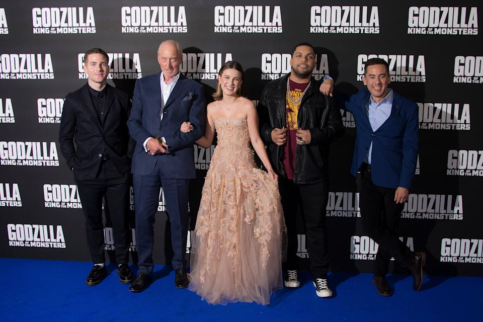 From left, producer Zach Shields, actors Charles Dance, Millie Bobby Brown, O' Shea Jackson Jr and Director Michael Dougherty, pose for photographers upon arrival at the screening for Godzilla II: King of the Monsters, at a central London cinema, Tuesday, May 28, 2019. (Photo by Joel C Ryan/Invision/AP)