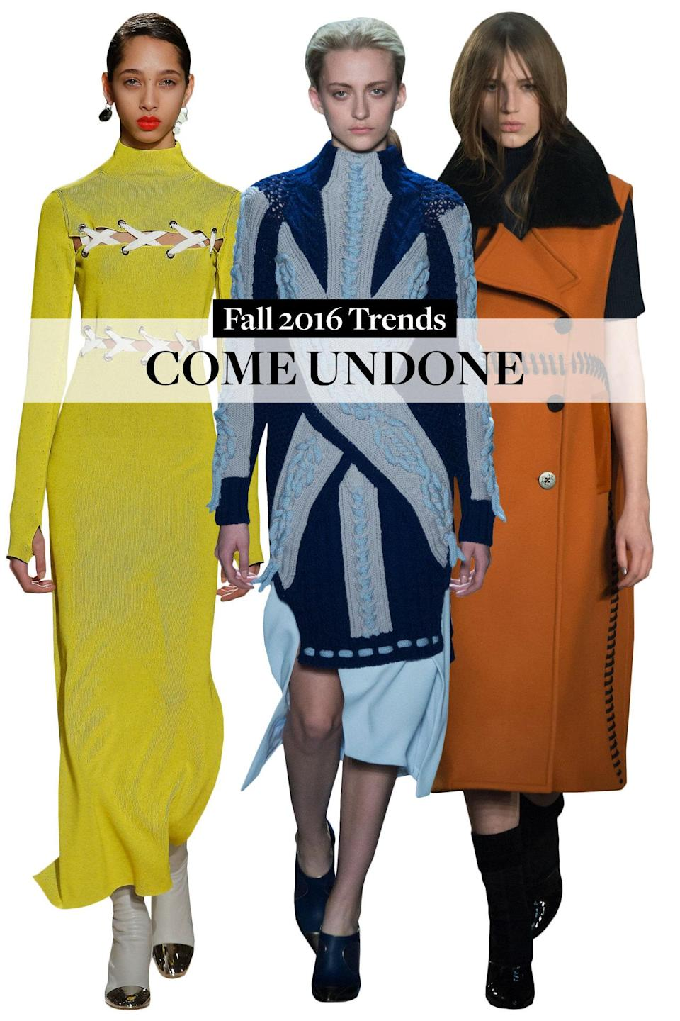<p>A statement dress or coat ain't no statement come fall if you are not stitched in or up or all over! Proenza Schouler presented it in form of laces on dresses to jackets whilst Edun and Phillip Lim had contrasting stitches on coats.</p>