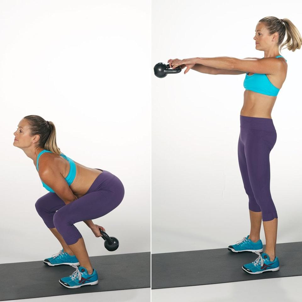 """<p>""""This is an incredible exercise for training hip power and explosiveness,"""" Danielle said. The kettlebell swing is """"the godfather of all kettlebell exercises,"""" according to trainer <a href=""""https://www.instagram.com/bustostraining/"""" target=""""_blank"""" class=""""ga-track"""" data-ga-category=""""Related"""" data-ga-label=""""https://www.instagram.com/bustostraining/"""" data-ga-action=""""In-Line Links"""">Andrew Bustos</a>, NASM, ACE, a certified kettlebell instructor. Besides being his favorite kettlebell exercise for the glutes, """"it also works the hamstrings, abs, and many other muscles since it's a total-body exercise. I have my clients do a swing a lot because it helps to improve posture and keeps the lower back strong."""" </p> <ul> <li>Hold a kettlebell with both hands by the flat, top handle. Let your arms rest so the kettlebell hangs down between your legs.</li> <li>Place your legs slightly wider than hip-width apart. Your toes should point slightly outward.   </li> <li>To begin, keep your back flat and brace your core. Bend at your knees, and push your glutes back.   </li> <li>While keeping your arms straight, press your weight down into your feet and squeeze your quads and glutes as you push the kettlebell up.   </li> <li>Extend your hips and legs to stand. This motion will drive the kettlebell up to just above shoulder height.   </li> <li>Control the momentum while lowering the kettlebell as it returns to the starting position. This counts as one rep.</li> </ul>"""