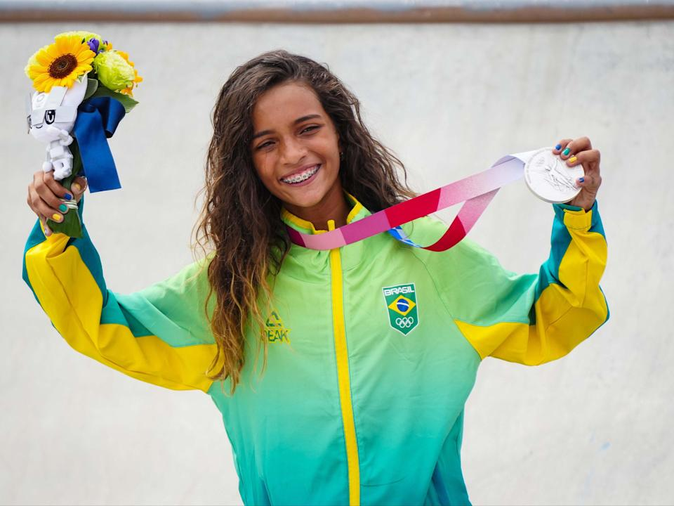 Rayssa Leal of Brazil won the silver medal in the women's street skateboarding competition in Tokyo (Icon Sport via Getty Images)