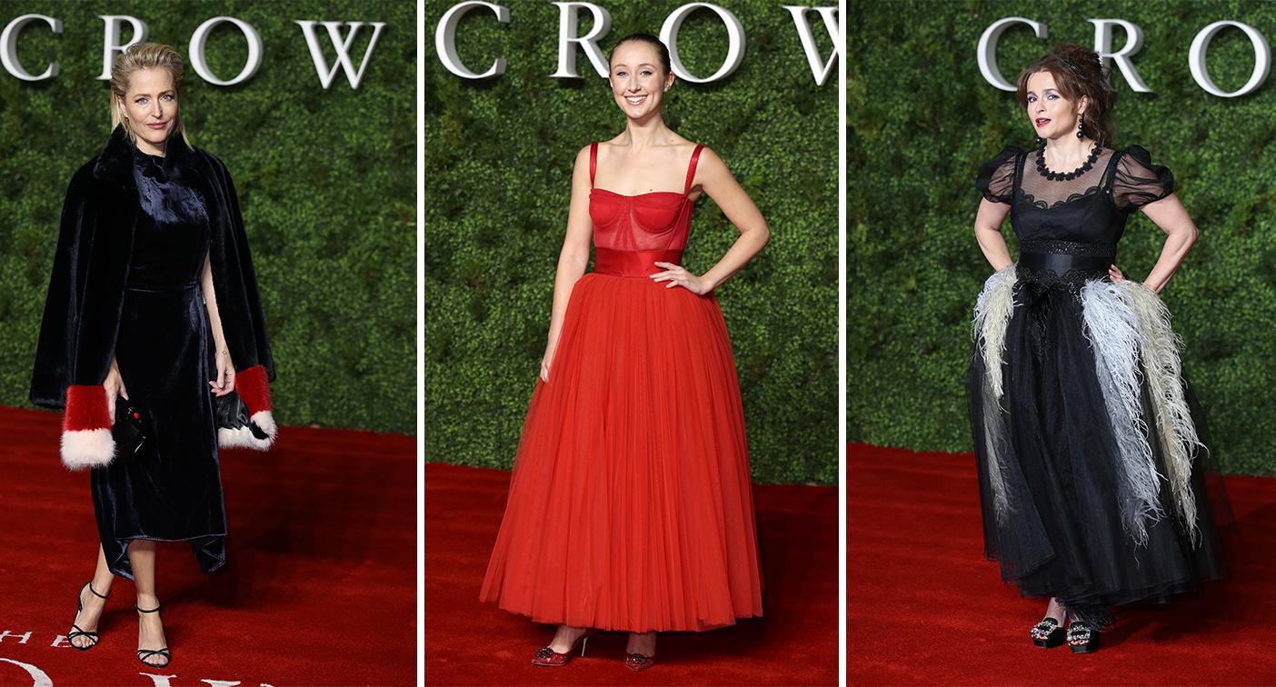 "Gillian Anderson, Ruth Doherty and Helena Bonham Carter on the red carpet at ""The Crown"" Season 3 World Premiere [Photo: Getty]"