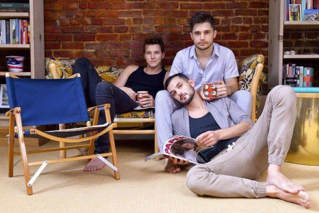 """From left, Dave Thomas Brown, Andy Mientus and Wesley Taylor are among the stars who'll take the stage Oct. 1 at """"54 Sings Rufus Wainwright"""" in New York. (Michael Kushner Photography)"""