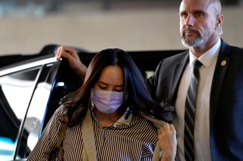 FILE PHOTO: Huawei Technologies Chief Financial Officer Meng Wanzhou arrives at a court hearing in Vancouver