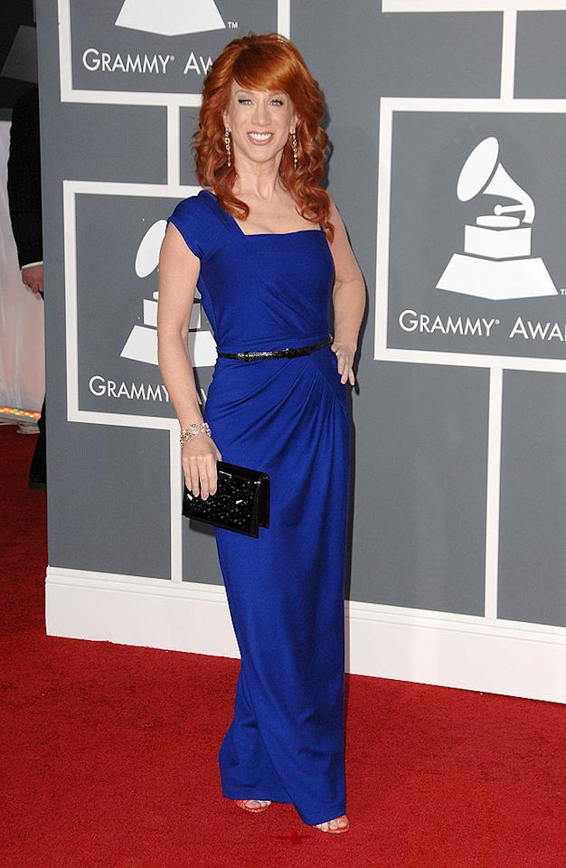 "Good: ""D-Lister"" Kathy Griffin put her best foot forward at the Grammys in a bright-blue gown that perfectly complemented her ravishing red locks. Steve Granitz/<a href=""http://www.wireimage.com"" target=""new"">WireImage.com</a> - February 8, 2009"
