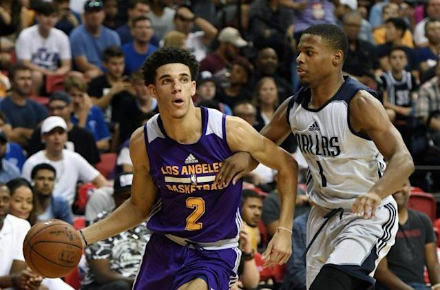 Lonzo Ball is defended by fellow summer-league sensation Dennis Smith Jr. (Getty)