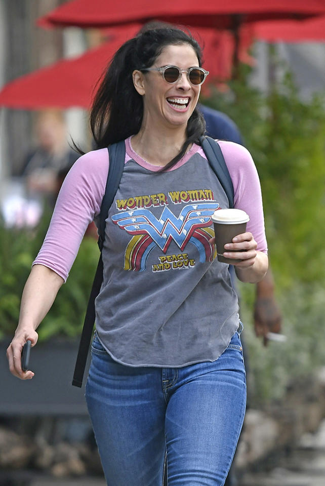 <p>Caffeine made Sarah Silverman feel like Wonder Woman in New York City. (You know, if the hero's superpower was making people laugh.) (Photo: Splash News) </p>