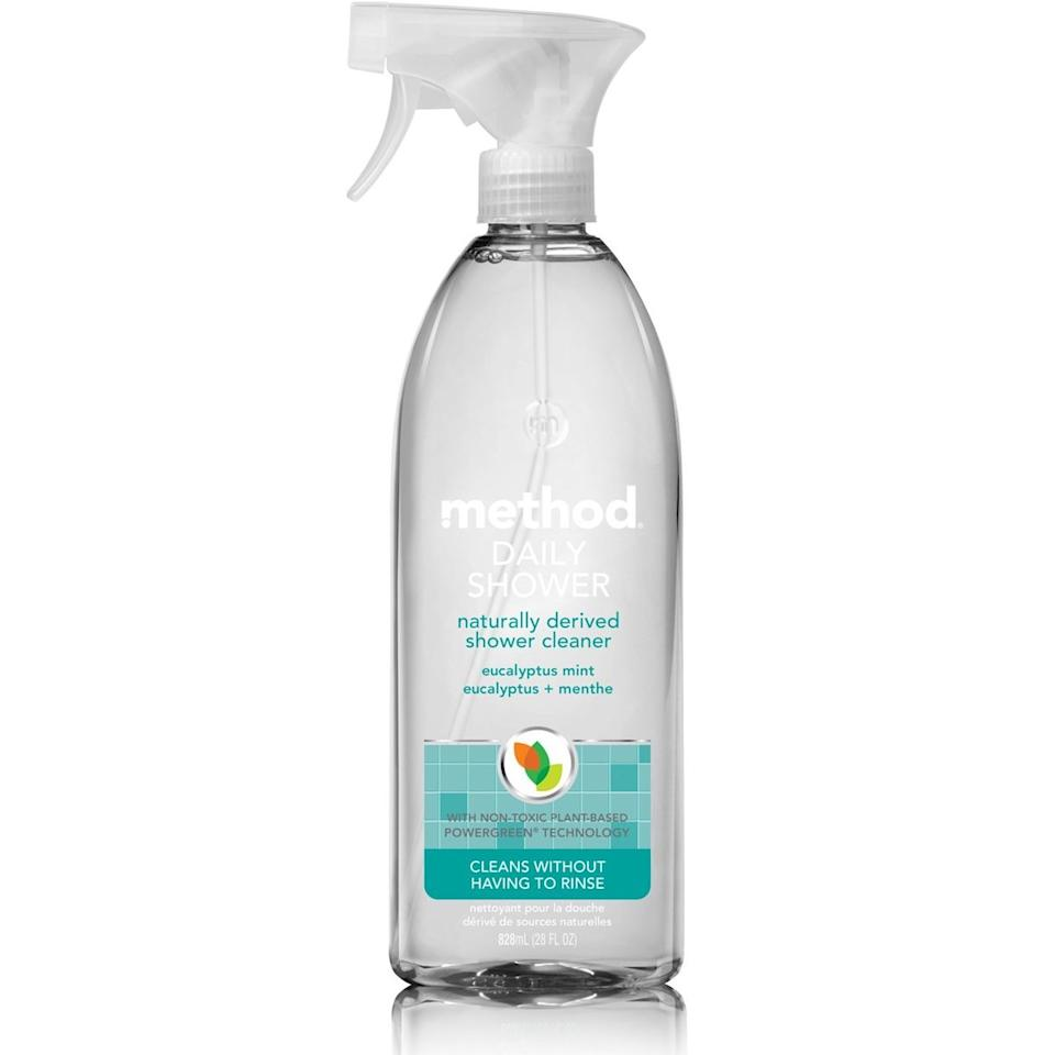 """<p>After each shower, spray this eucalyptus-scented cleanser onto the walls—and that's it. No scrubbing necessary, the solution will dissolve soap scum. Pair the squeegee above with this magic shower spray and you'll be able to avoid the dreaded deep-clean for months. </p> <p><strong>To buy: </strong>$3, <a href=""""https://www.amazon.com/Method-Daily-Shower-Cleaner-Eucalyptus/dp/B00O33G1XU/ref=as_li_ss_tl?ie=UTF8&linkCode=ll1&tag=rslifekeepyourshowercleanerkholdoct19-20&linkId=4cc7ed8b1cbfc1c1f3d255e0f8231581&language=en_US"""" target=""""_blank"""">amazon.com</a>. </p>"""