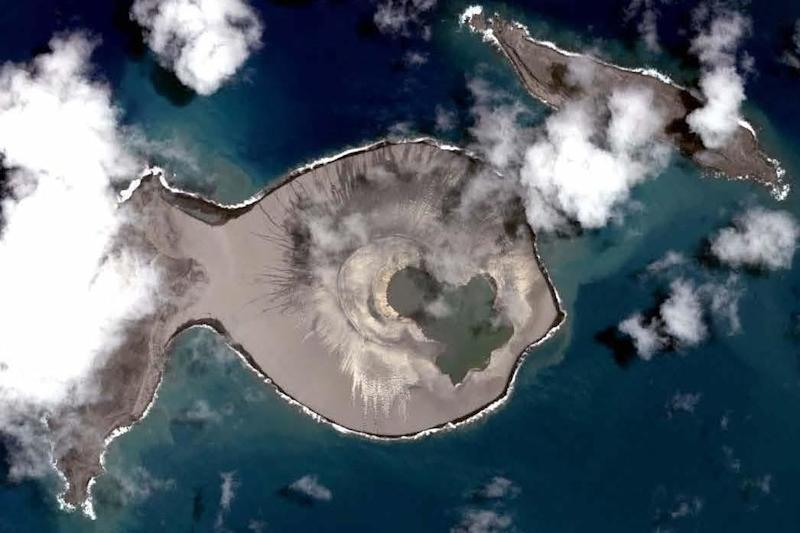 View from above the new Tongan island, which formed after a submarine eruption (NASA)