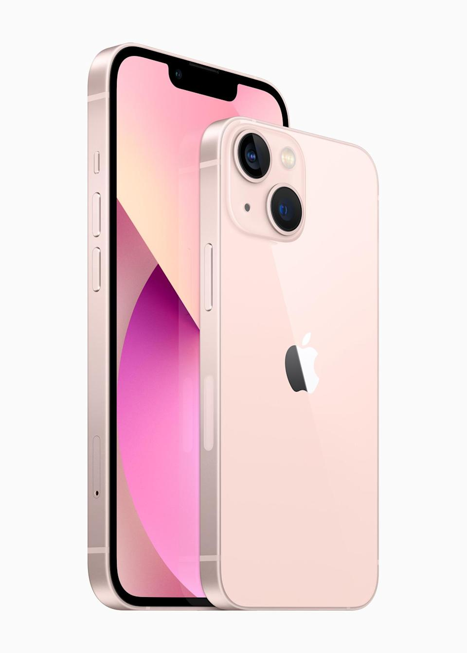 Pink is one of five new colors for the iPhone 13, which also include blue, midnight, starlight and Product (Red). - Credit: Courtesy images