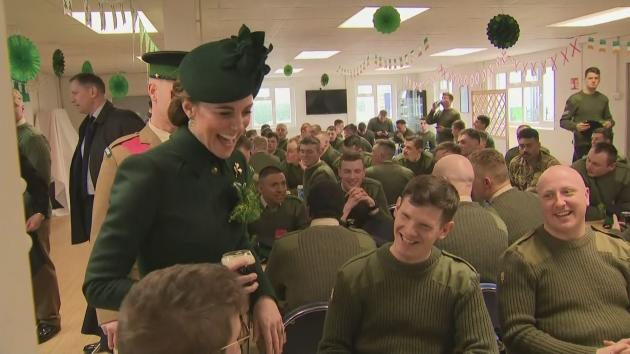 The Duke and Duchess of Cambridge spent time with the Irish Guard 1st battalion for St. Patrick's Day, as per tradition. Guinness in hand, the pair chatted with soldiers in their mess hall.