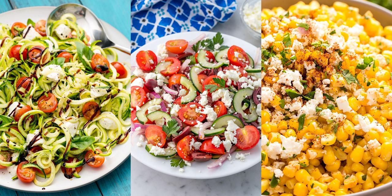 """<p>A salad is a go-to when it comes to deciding what to prepare for lunch or dinner. Mix up <a href=""""https://www.delish.com/uk/food-news/a29187765/how-to-keep-veg-fruit-fresh/"""" target=""""_blank"""">fruity and veggie</a> flavours to create healthy, super tasty salads that will give you that well-needed midday motivation. Not sure where to look? </p><p>We've put together a selection of the best healthy salads to give you that helping hand in picking and choosing what you fancy trying. Expect classic Chicken Caesar Salads along with a tangy Mediterranean Chickpea Salad. Yum! </p>"""