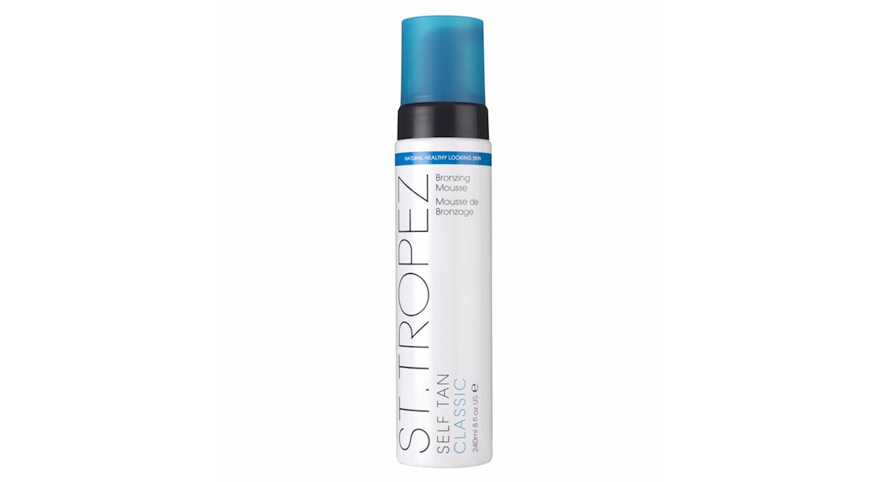 <p>DIY tanning can be messy when liquids are involved but a tanning mousse is fuss-free and dries quickly without any drips. Plus, you can't spill it. Try the classic St Tropez Mousse, it's not a cult product for no reason. </p>