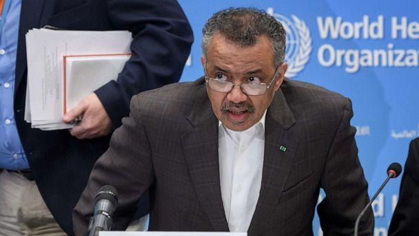 PHOTO: World Health Organization Director-General Tedros Adhanom Ghebreyesus arrives for a press conference to talk about Coronavirus, Jan. 30, 2020 in Geneva. (Fabrice Coffrini/AFP via Getty Images)