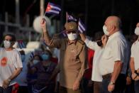 Raul Castro takes part in a rally in Havana