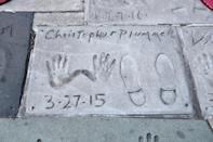 Late Canadian actor Christopher Plummer's hand and footprints are seen outside the TCL Chinese Theatre in Hollywood