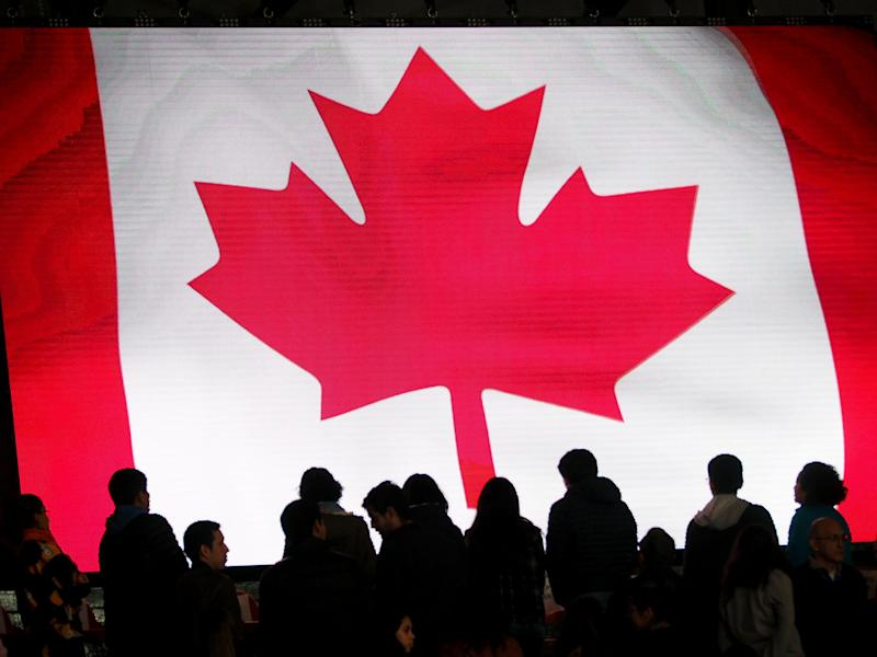 LIMA, PERU - 2019/08/09: Basketball, women's; Canada flag in a giant screen during the match between Canada and Argentina at the Lima 2019 Pan American Games. (Photo by Carlos Garcia Granthon/Fotoholica Press/LightRocket via Getty Images)
