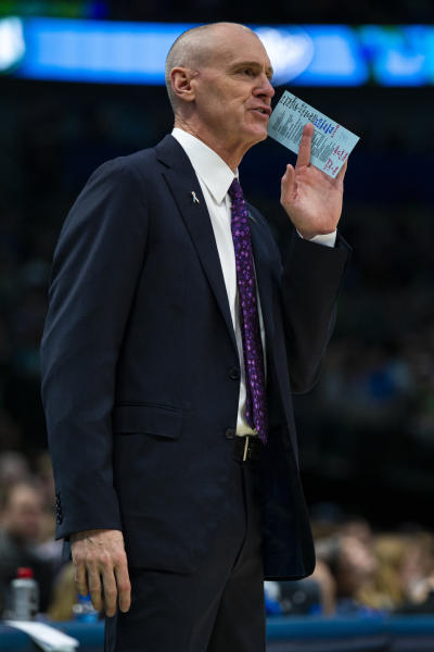 Dallas Mavericks head coach Rick Carlisle gives instructions to his team during the third quarter of an NBA basketball game against the New Orleans Pelicans Saturday, Dec. 7, 2019 in Dallas. (AP Photo/Sam Hodde)