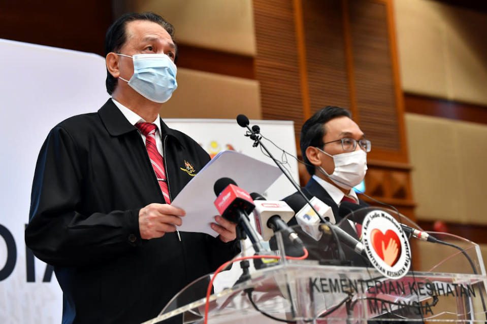 Tan Sri Dr Noor Hisham Abdullah speaks during a press briefing in Putrajaya January 13, 2021. — Bernama p