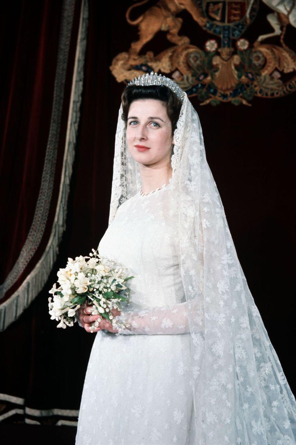 <p><strong>Wedding date: </strong>April 24, 1963</p><p><strong>Wedding tiara: </strong>Princess Alexandra of Kent wore the Kent City of London Fringe tiara on her wedding day, which she borrowed from her mother Princess Marina. The stunning tiara was given to Marina, on her wedding day in 1934.</p>