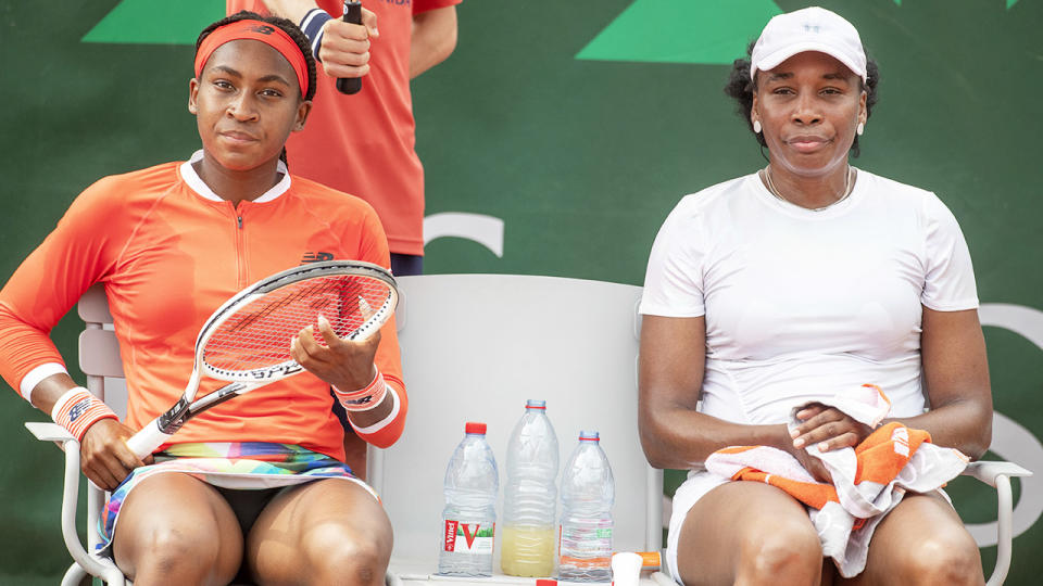Coco Gauff and Venus Williams, pictured here during their match against Saisai Zheng and Ellen Perez.