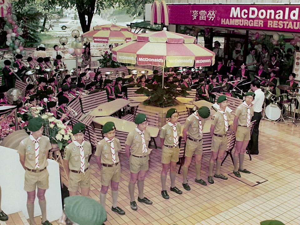 Boy Scouts form a guard of honour at the grand opening of Singapore's first McDonald's at Liat Towers on 20 October, 1979. (PHOTO: McDonald's)