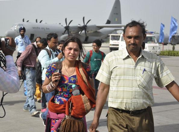 A group of 101 persons, including 21 children, were safely evacuated by the special operations C-130J aircraft, which are customised for covert special operations and are capable of landing at makeshift and short runways, on June 20, 2013 in Ghaziabad, India. The group was later sent to their destinations at bus-terminals and railway stations in Delhi by special city buses deployed by Ghaziabad administration. IAF has so far flown around 150 sorties and evacuated over 1,400 people from places, including the worst-affected Kedarnath-Gaurikund axis.