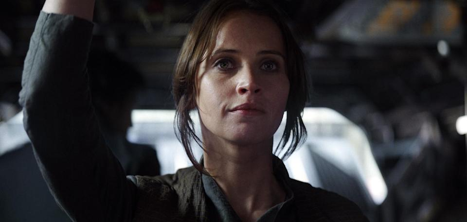 "Felicity Jones as Jyn Erso in a scene from, ""Rogue One: A Star Wars Story."" (Lucasfilm Ltd. via AP)"