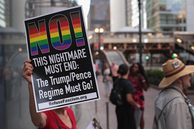 <p>Demonstrators hold a rally downtown as concerns mount that President Donald Trump's choice to replace Justice Anthony Kennedy on the Supreme Court may shift the court too far to the right and threaten, among other issues, women's legal right to an abortion on July 9, 2018 in Chicago, Ill. (Photo: Scott Olson/Getty Images) </p>