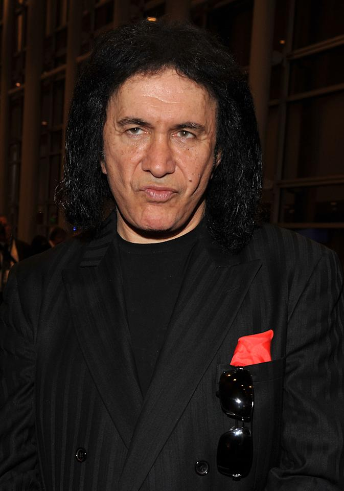 "One of the most made up men in music, Gene Simmons of the Grammy-nominated Kiss is utterly terrifying and electrifying at the same time when painted up as the ""Demon"". But even with his hair neat and ghastly makeup off to show his healthy glow, he exudes rock and roll from every angle."