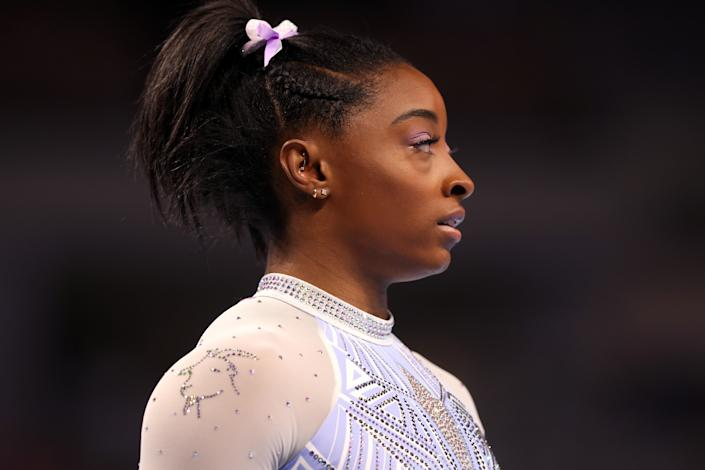 FORT WORTH, TEXAS - JUNE 04:  A goat is pictured on the shoulder of Simone Biles' leotard prior to competing in the floor exercise during the Senior Women's competition of the 2021 U.S. Gymnastics Championships at Dickies Arena on June 04, 2021 in Fort Worth, Texas. (Photo by Jamie Squire/Getty Images)