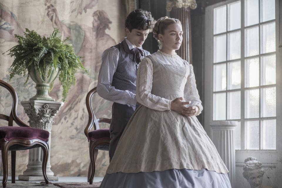 Timothée Chalamet and Florence Pugh as Amy, the youngest of the four March sisters.