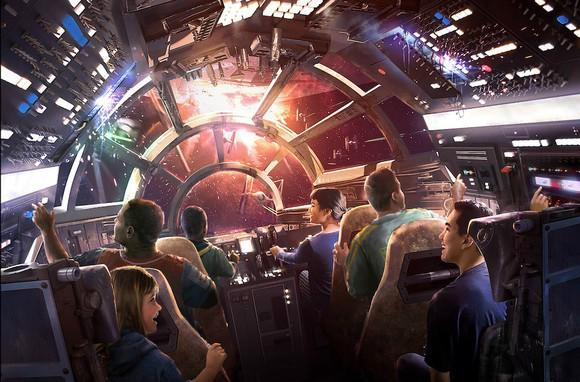 An artist rendering of a new Star Wars-based theme park ride showing people in the cockpit of the Millennium Falcon.
