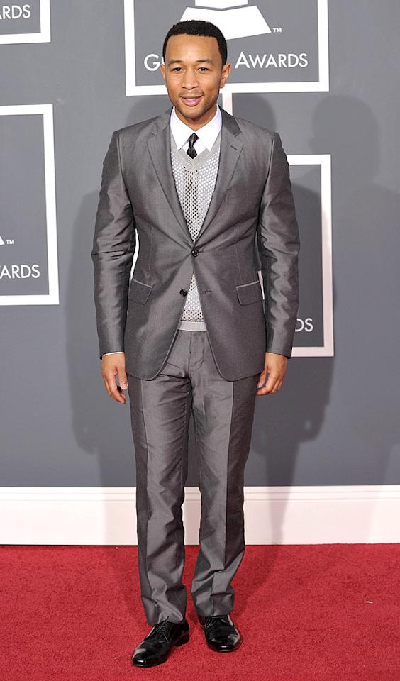 "John Legend  Grade: B-   The cute crooner's mesh sweater vest added a twist to his gray sharkskin suit. John Shearer/<a href=""http://www.wireimage.com"" target=""new"">WireImage.com</a> - January 31, 2010"