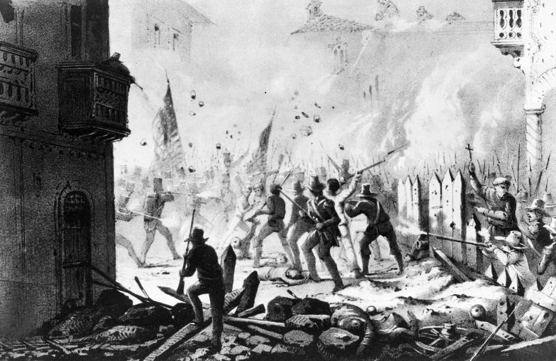 FILE - This file photo of a painting depicts street fighting during the siege of Monterey, Mexico in Sept. 1846 during the U.S. War with Mexico. The United States invaded Mexico in 1846 and captured Mexico City in 1847. A peace treaty the following year gave the U.S. more than half of Mexico's territory, what is now most of the western United States. (U.S. Army Signal Corps via AP, File)