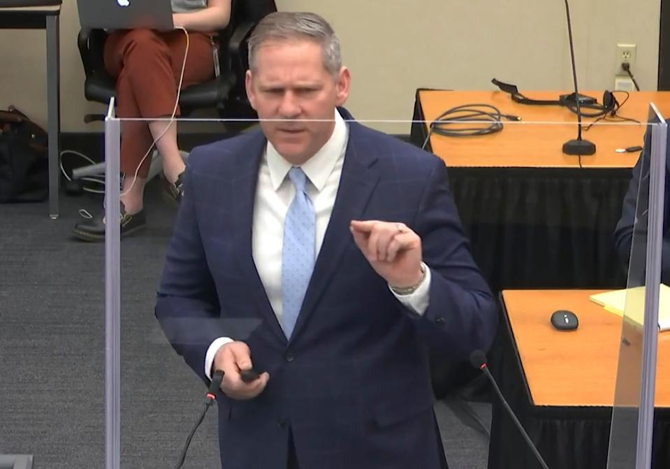 In this image from video, prosecutor Steve Schleicher gives closing arguments as Hennepin County Judge Peter Cahill presides Monday, April 19, 2021, in the trial of former Minneapolis police Officer Derek Chauvin at the Hennepin County Courthouse in Minneapolis. Chauvin is charged in the May 25, 2020 death of George Floyd.  (Court TV via AP, Pool) (AP)