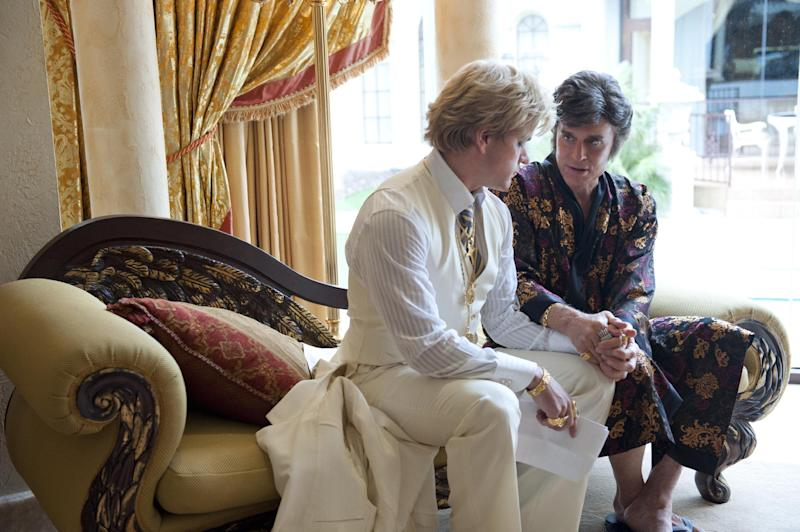 "This film image released by HBO shows Michael Douglas, right, as Liberace, and Matt Damon, as Scott Thorson in a scene from ""Behind the Candelabra,"" premiering Sunday at 9 p.m. EDT on HBO. (AP Photo/HBO, Claudette Barius)"
