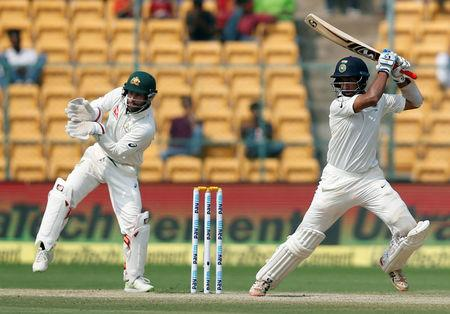 India v Australia - Second Test cricket match - M Chinnaswamy Stadium, Bengaluru, India - 06/03/17 - India's Cheteshwar Pujara plays a shot. REUTERS/Danish Siddiqui