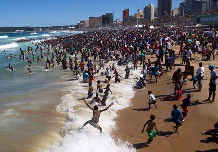 File photo of people visiting the beach on New Year's Day in Durban